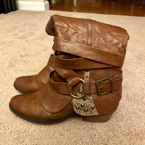 Tall Brown Boots with Glitter Accent